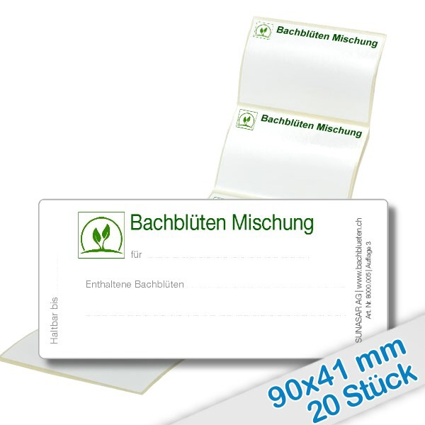 20er Pack Etiketten Bachblüten Mischung